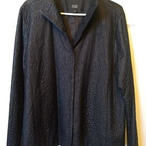 Eileen Fisher textured silk black jacket XL